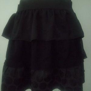 Sz small black polka dot tiered ruffle mini skirt